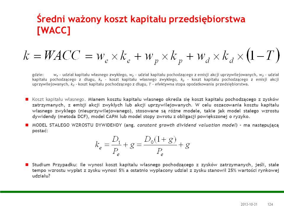Średni ważony koszt kapitału przedsiębiorstwa [WACC]